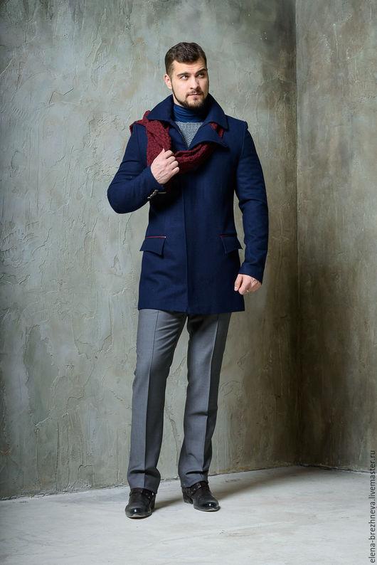 Верхняя одежда ручной работы. Ярмарка Мастеров - ручная работа. Купить Пальто мужское с элементами из питона. Handmade. Тёмно-синий