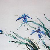 """Картины и панно ручной работы. Ярмарка Мастеров - ручная работа батик картина  """"Голубые Ирисы"""". Handmade."""
