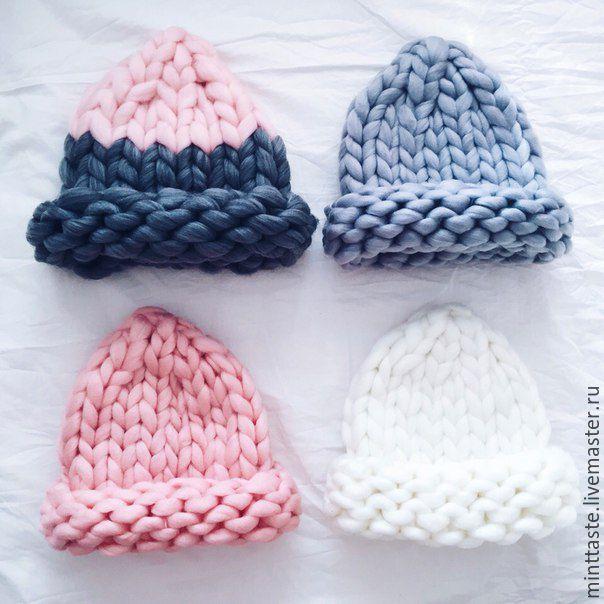 Вязанная крупно шапка