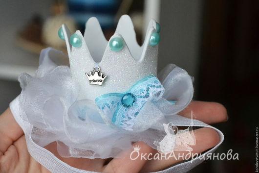 Белая блестящая мини-корона на резинке. Корона для девочки, принцессы.