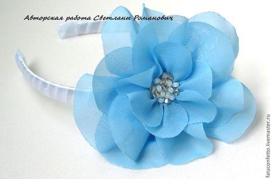 Диадемы, обручи ручной работы. Ярмарка Мастеров - ручная работа. Купить Ободок для волос  с текстильным цветком. Handmade. Голубой