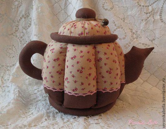 Кухня ручной работы. Ярмарка Мастеров - ручная работа. Купить Чайник-шкатулка из ткани с цветочками. Handmade. Разноцветный, чайник из ткани