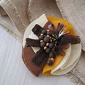 Украшения handmade. Livemaster - original item Brown textile brooch, felt brooch. Handmade.
