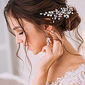 Комплекты украшений ручной работы. Ярмарка Мастеров - ручная работа Украшения для невесты в пудровом цвете, Свадебные серьги и веточка. Handmade.