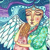 """Картины и панно ручной работы. Ярмарка Мастеров - ручная работа """"Ангел утешения"""", картина с ангелом, ангелы. Handmade."""
