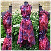 Платье с асимметричным подолом, батик