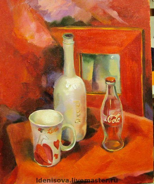Натюрморт ручной работы. Ярмарка Мастеров - ручная работа. Купить Красный натюрморт. Handmade. Масло, чашка, бутылка