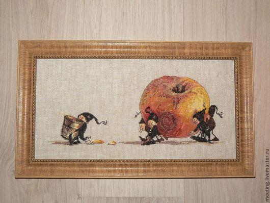 Фантазийные сюжеты ручной работы. Ярмарка Мастеров - ручная работа. Купить Яблоко (Apple). Handmade. Вышивка, вышитая картина крестиком
