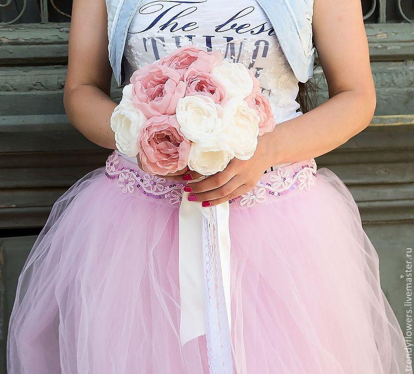 Букет невесты Воздушное облако. Текстильные цветы