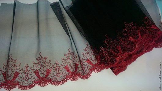Аппликации, вставки, отделка ручной работы. Ярмарка Мастеров - ручная работа. Купить Вышивка на сетке Mil-16 черный/красный. Handmade.