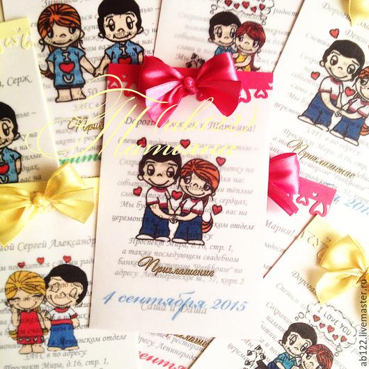 Свадебные аксессуары ручной работы. Ярмарка Мастеров - ручная работа. Купить Приглашения Love is в любой цветовой гамме. Handmade.