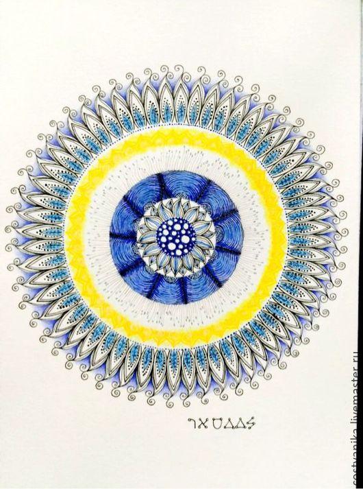 Медитация ручной работы. Ярмарка Мастеров - ручная работа. Купить Мандала Архангела Разиила. Handmade. Тёмно-синий, Архангел, архангелразиил