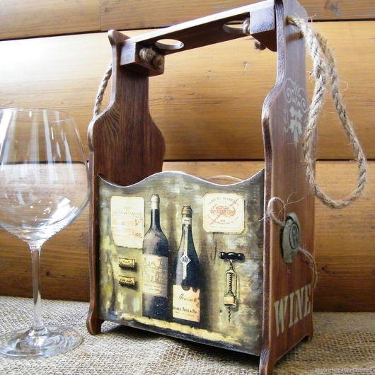 Короб для вина, ящик для двух бутылок декупаж, купить в москве подарок мужчине, ручная работа, короб для бутылок фото, короб декупаж купить, купить короб в подарок мужчине
