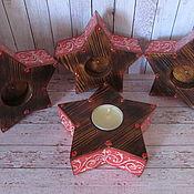 Candles handmade. Livemaster - original item Christmas wooden candle holder.Star. Handmade.