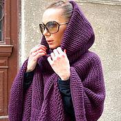 Одежда ручной работы. Ярмарка Мастеров - ручная работа Пончо  Aubergine Purple. Handmade.