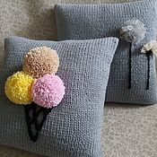 Pillow handmade. Livemaster - original item 3D Cushion knitted from wool mixture Who ice cream?. Handmade.