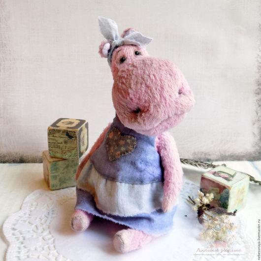 Мишки Тедди ручной работы. Ярмарка Мастеров - ручная работа. Купить Петунья Бегемот, авторский бегемотик Тедди. Handmade. Разноцветный