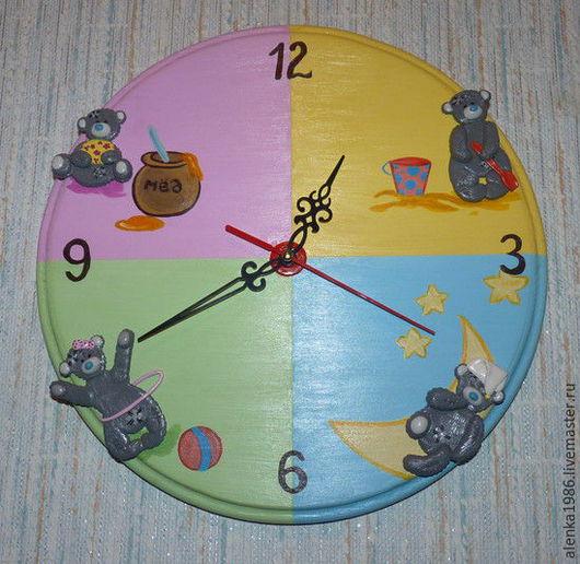 """Часы для дома ручной работы. Ярмарка Мастеров - ручная работа. Купить Часы """"Мишутка"""". Handmade. Часы настенные, полимерная глина"""