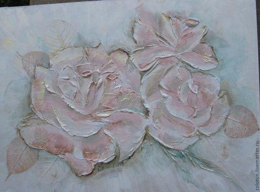 """Картины цветов ручной работы. Ярмарка Мастеров - ручная работа. Купить Картина объемная """"Нежные розы"""". Handmade. Бледно-розовый"""