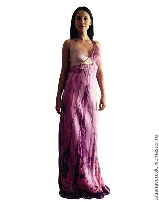 Платья ручной работы. Ярмарка Мастеров - ручная работа. Купить платье-батик Орхидея. Handmade. Фуксия, батик платье