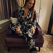 Одежда ручной работы. Ярмарка Мастеров - ручная работа Шёлковый костюм Twin-flo в пижамном стиле. Handmade.