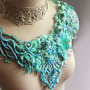 Аксессуары handmade. Livemaster - original item Detachable collar choker Turquoise roses felted embroidery beads. Handmade.
