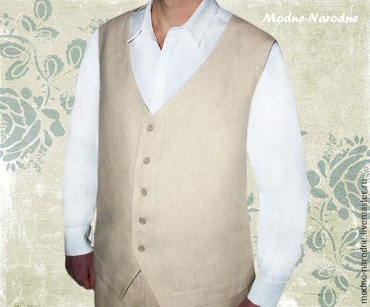 Жилет мужской и Рубашка КЛАССИЧЕСКАЯ 5 Мужские рубашки Белая рубашка Мужской жилет Мужской комплект Льняная одежда Подарок мужчине  Модная одежда с ручной вышивкой. Творческое ателье Modne-Narodne.