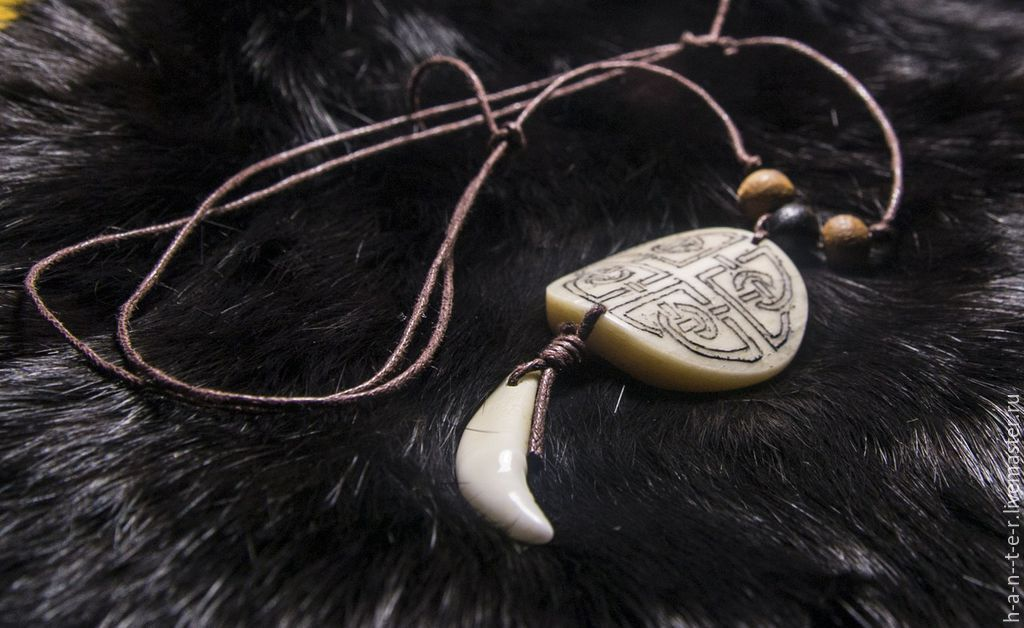 the tooth of a wolf with an amulet made of bone with any ornament,free shipping, Amulet, Kostroma,  Фото №1