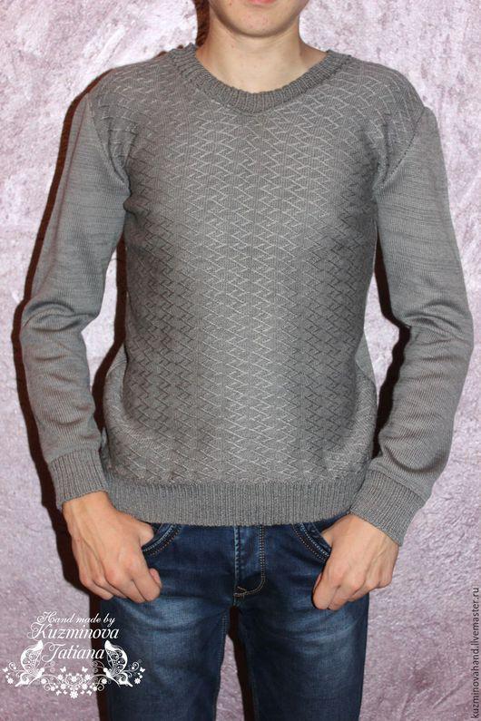 Для мужчин, ручной работы. Ярмарка Мастеров - ручная работа. Купить Мужской пуловер.. Handmade. Серый, свитер вязаный