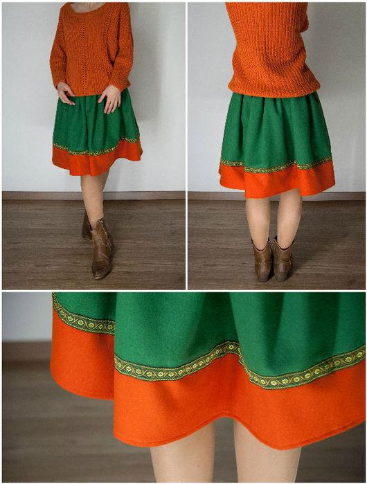 Юбки ручной работы. Ярмарка Мастеров - ручная работа. Купить Шерстяная юбка. Handmade. Рыжий, пышная юбка, оранжевая юбка