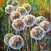 Картины и панно ручной работы. Ярмарка Мастеров - ручная работа картина маслом на холсте цветы одуванчики картины цветов, цветков. Handmade.