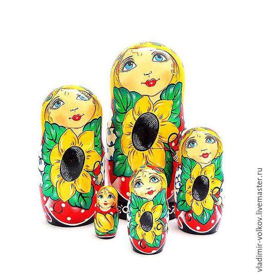 Матрешки ручной работы. Ярмарка Мастеров - ручная работа. Купить Матрешка  Подсолнухи, набор ярких расписных вложенных кукол. Handmade.