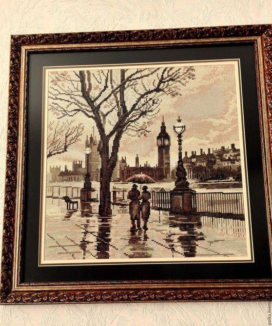 Пейзаж ручной работы. Ярмарка Мастеров - ручная работа. Купить Вышитая картина Лондонский Дождь. Handmade. Комбинированный, Вышивка крестом