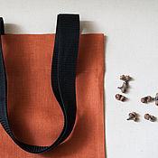 Сумки и аксессуары ручной работы. Ярмарка Мастеров - ручная работа Экосумка текстильная (оранжевый лён). Handmade.