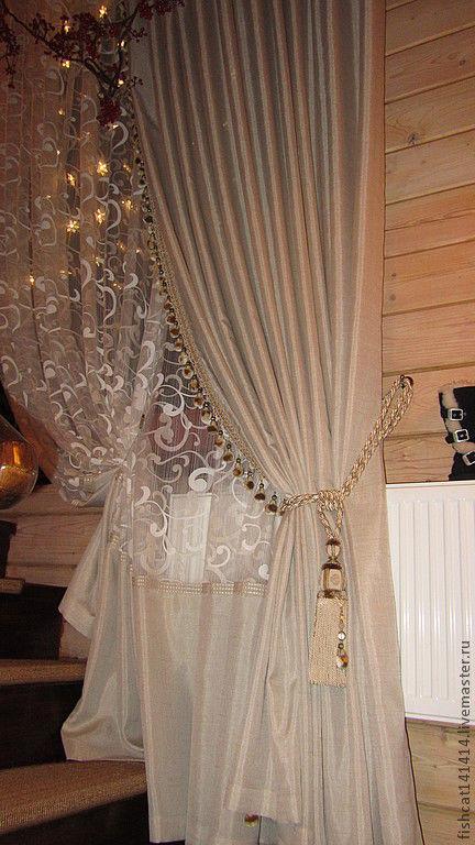 Текстиль, ковры ручной работы. Ярмарка Мастеров - ручная работа. Купить Шторы на лестницу. Handmade. Бежевый, тюль, шторы, кисть