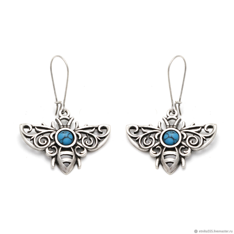 Earrings turquoise Bee, Earrings, Belaya Cerkov,  Фото №1