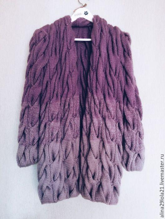 Кофты и свитера ручной работы. Ярмарка Мастеров - ручная работа. Купить кардиган в стиле Лало (градиент из кос). Handmade. Фиолетовый