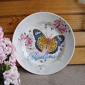 Картины и панно ручной работы. Ярмарка Мастеров - ручная работа Декоративная тарелка на стену Бабочка цветочная. Handmade.
