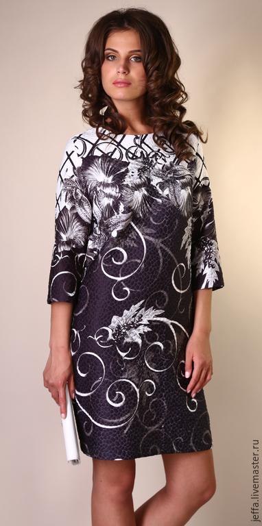 Платья ручной работы. Ярмарка Мастеров - ручная работа. Купить Платье Ночной эдельвейс арт.5343. Handmade. Чёрно-белый