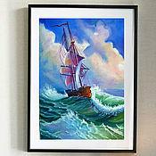 """Картины и панно ручной работы. Ярмарка Мастеров - ручная работа Картина """"Корабль на высокой волне"""". Handmade."""