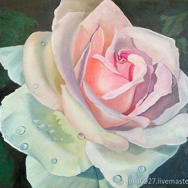Картины и панно ручной работы. Ярмарка Мастеров - ручная работа Картина маслом Роза на черном фоне гиперреализм на холсте. Handmade.