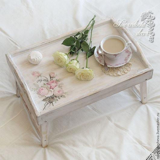 Кухня ручной работы. Ярмарка Мастеров - ручная работа. Купить Поднос-столик Нежные Розы в стиле shabby chic. Handmade.