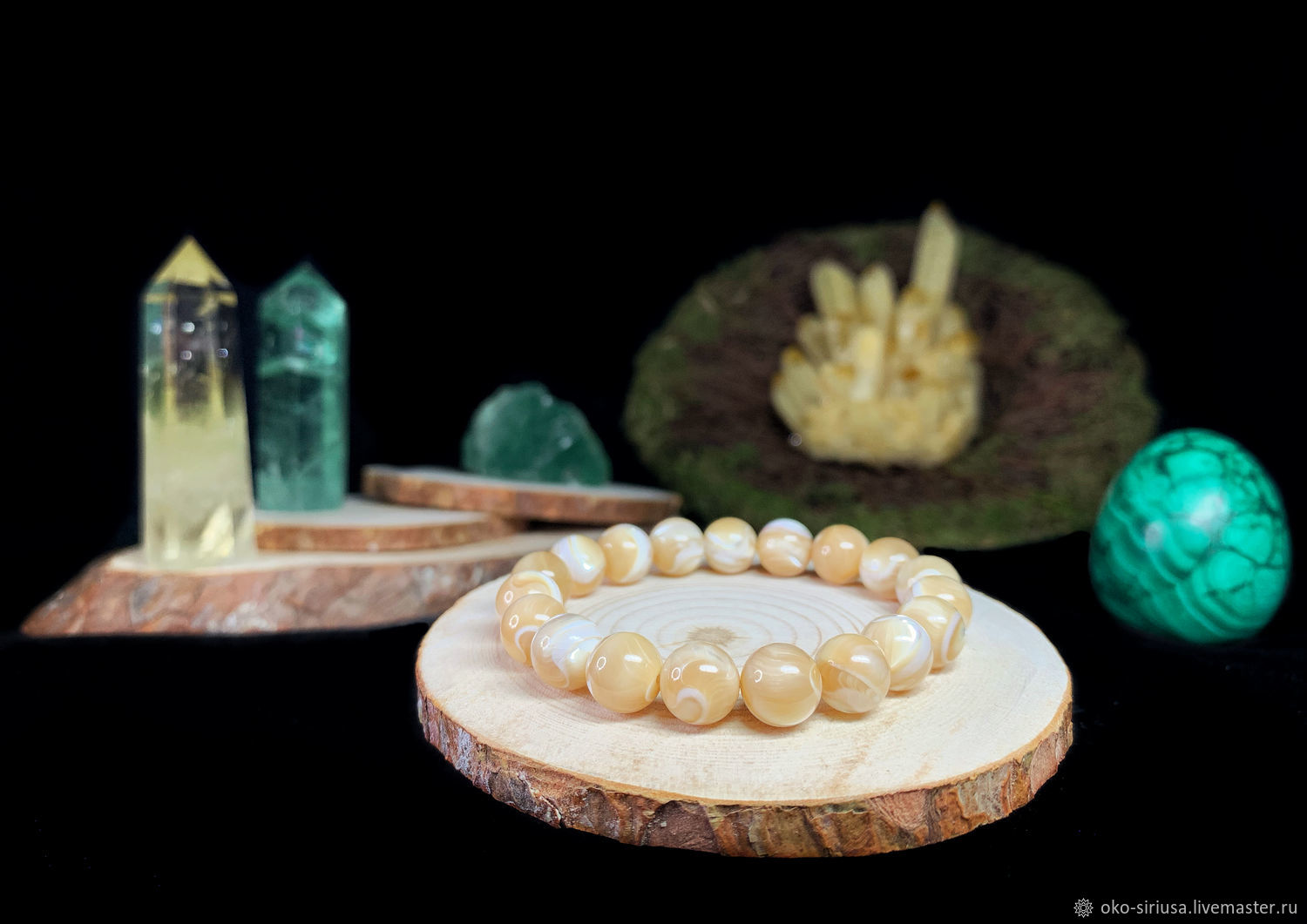 The bracelet is made of natural Caramel mother-of-Pearl, Bead bracelet, Moscow,  Фото №1