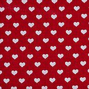 Материалы для творчества ручной работы. Ярмарка Мастеров - ручная работа Ткань Хлопок Сердечки на красном Чехия. Handmade.