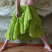 Одежда ручной работы. Ярмарка Мастеров - ручная работа Юбка летняя длинная.Свежая зелень. Коллекция Акварели. Handmade.