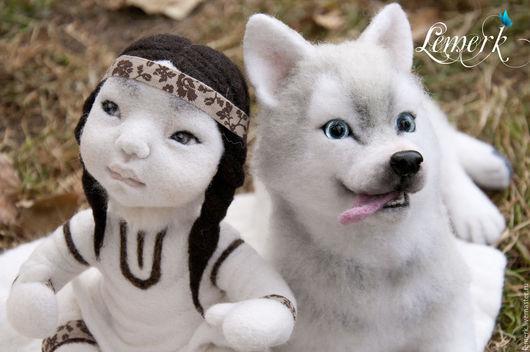 """Игрушки животные, ручной работы. Ярмарка Мастеров - ручная работа. Купить Собака породы хаски Сказка. Войлочная композиция """"Слушая Ветер"""". Handmade."""