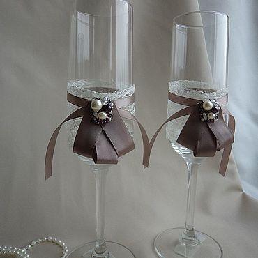 Свадебный салон ручной работы. Ярмарка Мастеров - ручная работа Свадебные бокалы: Молочный шоколад. Handmade.