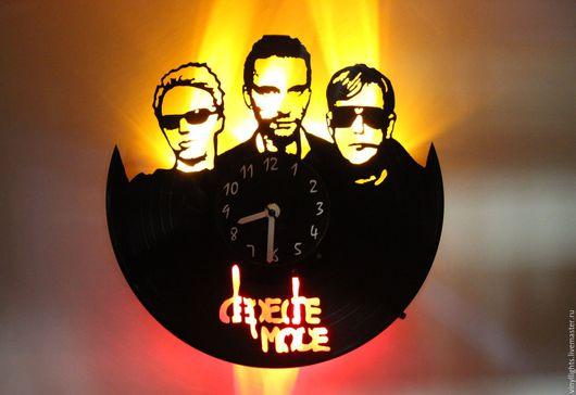 Часы для дома ручной работы. Ярмарка Мастеров - ручная работа. Купить Часы настенные с подсветкой из виниловой пластинки Depeche Mode. Handmade.