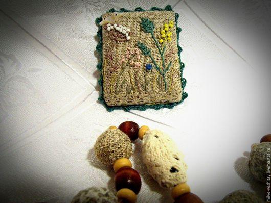 """Броши ручной работы. Ярмарка Мастеров - ручная работа. Купить Брошь вышитая """"Травы..."""". Handmade. Бежевый, птичка"""