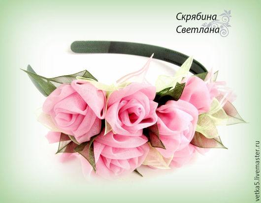 """Диадемы, обручи ручной работы. Ярмарка Мастеров - ручная работа. Купить Ободок для волос"""" Розовые розы """". Handmade. Розовый"""